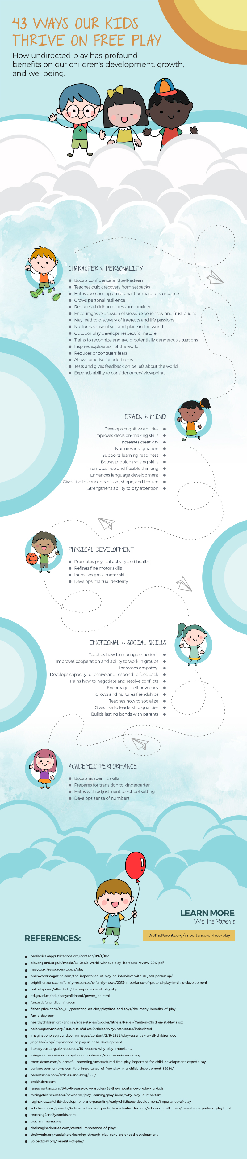 Infographic showing the benefits of child-led free play