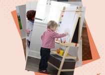 A selection of photos of toddlers using art easels.