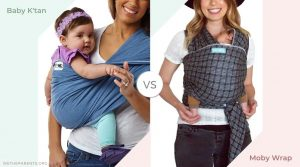 Side by side pictures of mothers carrying their babies in the Baby KTan and Mbay Wrap carriers