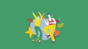 Cartoon girl and boy acting and dancing with stars and flowers around them