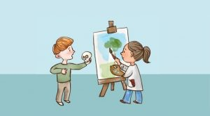 Children painting on an easel