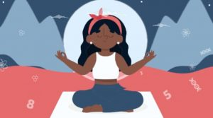 Cartoon picture of a girl meditating on a yoga mat with mountains behind her