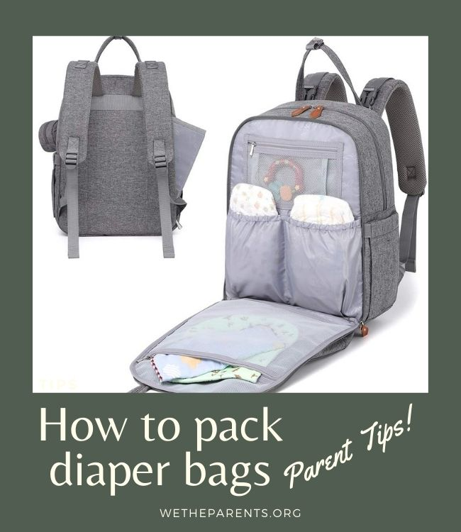 Picture of the front and back of a diaper bag - front pic shows bag open