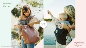 side by side pictures of mothers carrying babies in boba 4g and ergo carriers