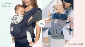 side by side pictures of mothers carrying babies in ergo 360 and ergo original carriers