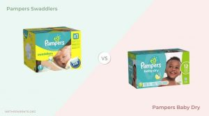Pampers swaddlers next to pampers baby dry