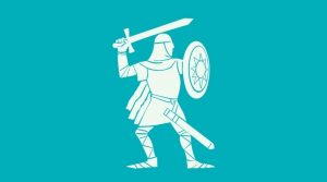 Cartoon drawing of a knight drawing his sword