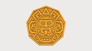 Cartoon symbol of a mayan face