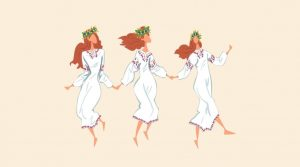 Cartoon of 3 ladies holdiing hands and dancing with flower garlands in their hair